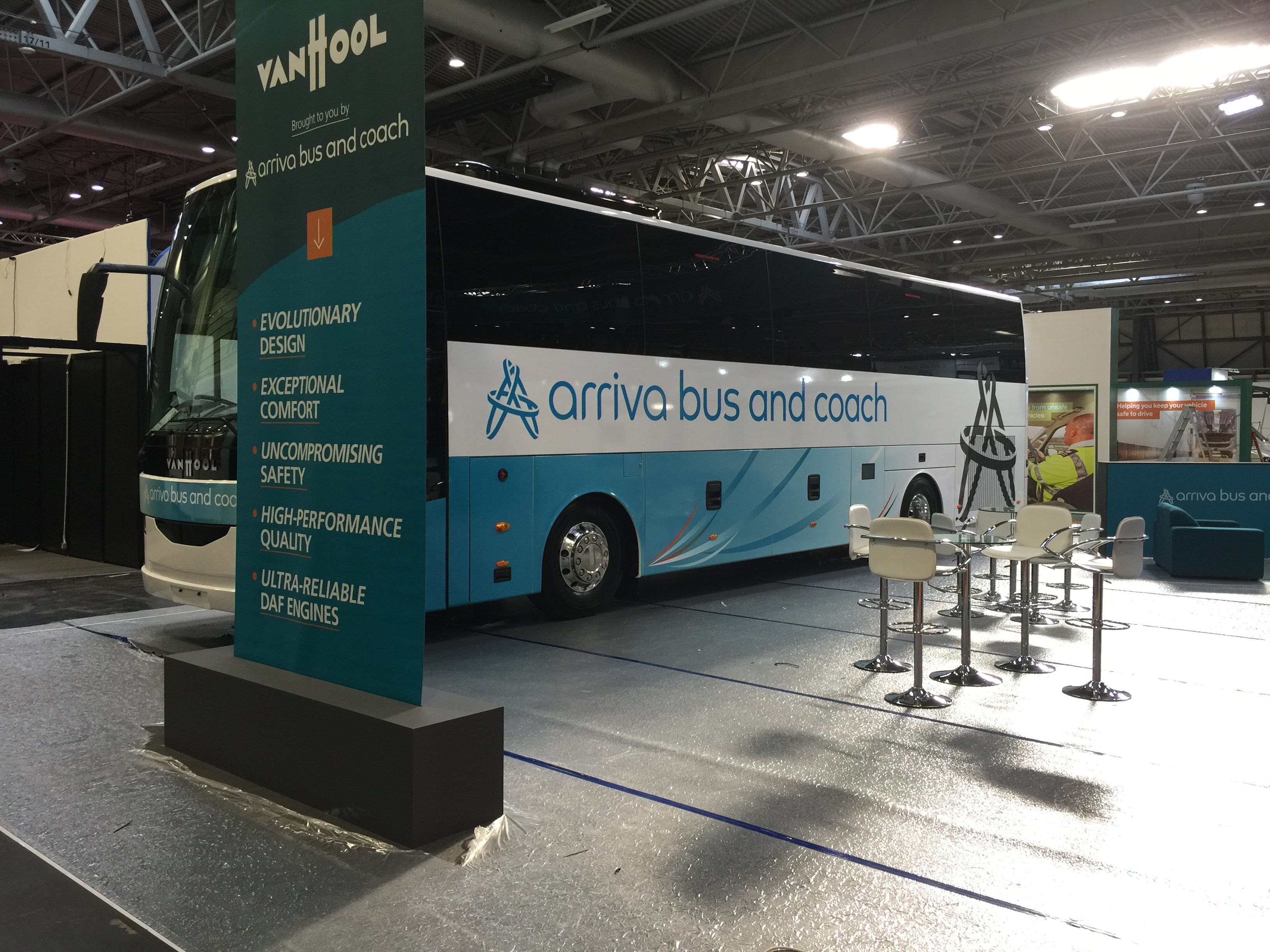 Arriva bus and coach printed coach design for NEC Coach show
