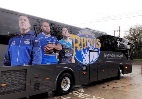 Leeds Rhinos full colour printed coach graphics with printed contravision for windows