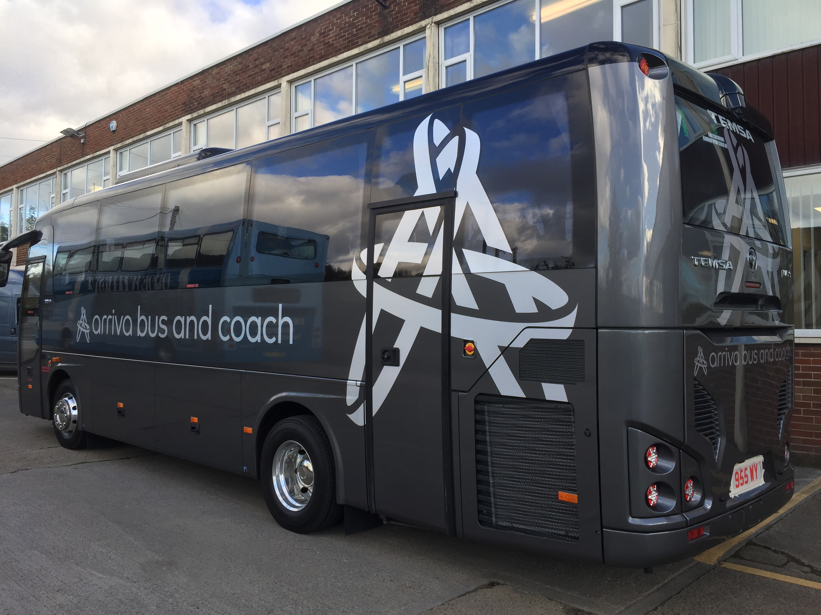 Arriva bus and coach brushed silver coach show graphics